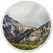 Claree Valley In Autumn - 12 - French Alps Round Beach Towel