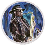 Clarence Clemons Round Beach Towel