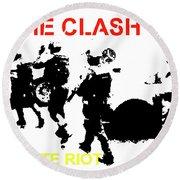 Clash White Riot  Round Beach Towel