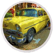 Classic 56 Chevy Car Yellow  Round Beach Towel