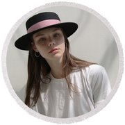 Classic Boater Hat Round Beach Towel