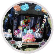 Classic Car Day Of Dead Decor Trunk Round Beach Towel