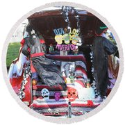Classic Car Decor Day Of The Dead  Round Beach Towel