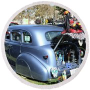 Classic Car Decorations Day Dead  Round Beach Towel