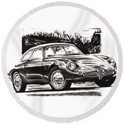 Classic Car In Classic Painting Round Beach Towel