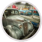 Classic Car Memorabilia Round Beach Towel
