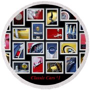Classic Car Montage Art 1 Round Beach Towel