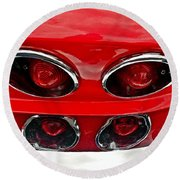 Classic Car Tail Lights Reflection Round Beach Towel
