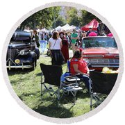 Classic Cars Day Of The Dead II Round Beach Towel