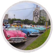 Classic Cars In Revolutionary Square Cuba Round Beach Towel