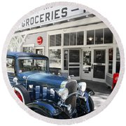 Classic Chevrolet Automobile Parked Outside The Store Round Beach Towel