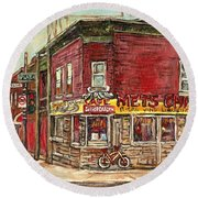 Classic Chinese Restaurant Montreal Memories Silver Dragon Canadian Paintings Carole Spandau         Round Beach Towel