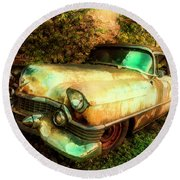 Classic Country Cadillac Painting  Round Beach Towel