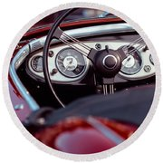 Classic Ford Convertible Interior Round Beach Towel