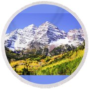 Classic Maroon Bells Round Beach Towel