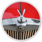 1936 Mg Ta Radiator And Mascot Round Beach Towel