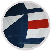 Classic Military Aircraft Abstract- Star 5 Round Beach Towel