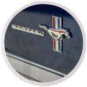 Classic Mustang Logo Closeup Round Beach Towel