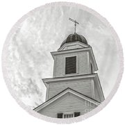 Classic New England Church Etna New Hampshire Round Beach Towel