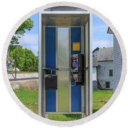 Classic Pay Phone Booth Round Beach Towel