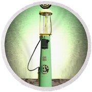 Polly Gasoline Pump And Emblem Round Beach Towel