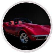 Classic Red Corvette Round Beach Towel