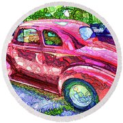 Classic Red Vintage Car Round Beach Towel