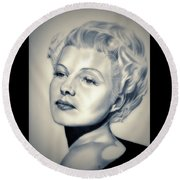 Classic Rita Hayworth Round Beach Towel