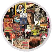 Classic Rock 2 Collage Round Beach Towel