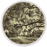 Classic Southern Beauty - Evergreen Plantation -sepia Round Beach Towel
