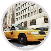 Classic Street View With Yellow Cabs In New York City Round Beach Towel