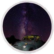 Classic Truck Under The Milky Way Round Beach Towel