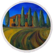 Classic Tuscan Sunset Round Beach Towel