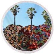 Classic Umbrellas Day Of The Dead  Round Beach Towel