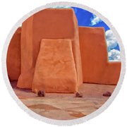 Classic View Of Ranchos Church As Oil Round Beach Towel