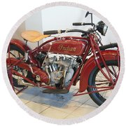 Classic Vintage Indian Motorcycle Red   # Round Beach Towel