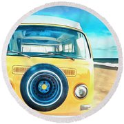Classic Vw Camper On The Beach Round Beach Towel