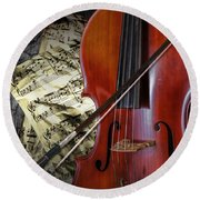 Classical Cello Round Beach Towel