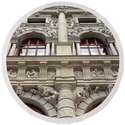 Classical Decorative Building Facade In Vienna Round Beach Towel