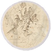 Classical Figures Gathered Around An Urn Round Beach Towel