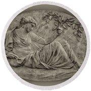 Classical Greek Woman Fresco Round Beach Towel by Bill Cannon