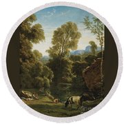 Classical Landscape With Figures By A Lake Round Beach Towel