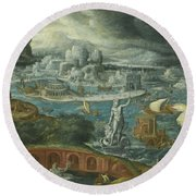 Classical Landscape With Ships Running Before A Storm Towards A Classical Harbour Probably Corinth Round Beach Towel