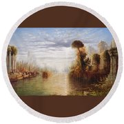 Classical River Landscape With Figures On The Steps Below A Temple Embarking Boats Round Beach Towel
