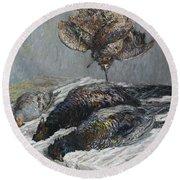 Claude Monet 1840 - 1926 Pheasant, Woodcock And Partridge Round Beach Towel