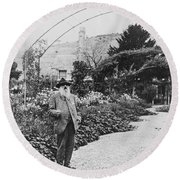 Claude Monet In His Garden Round Beach Towel