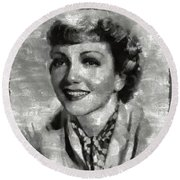 Claudette Colbert Vintage Hollywood Actress Round Beach Towel