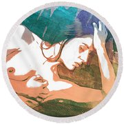 Claudia Nude Fine Art Painting Print In Sensual Sexy Color 4893. Round Beach Towel