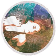Claudia Nude Fine Art Painting Print In Sensual Sexy Color 4895. Round Beach Towel