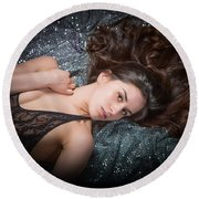 Claudia Nude Fine Art Print In Sensual Sexy Color 4884.02 Round Beach Towel